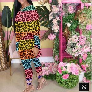 ROASO Plus Size Leopard Two Piece Suit Size 20/22